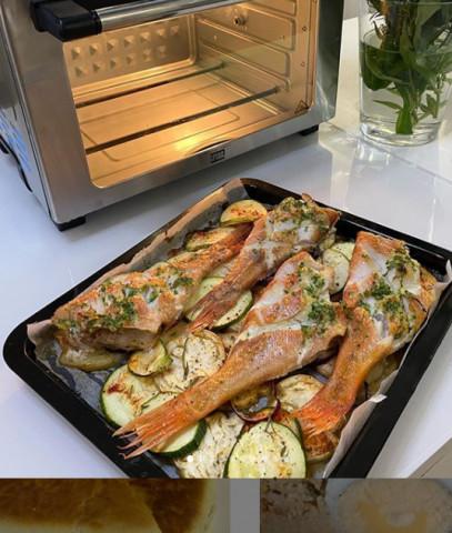 Морской окунь на подушке из овощей