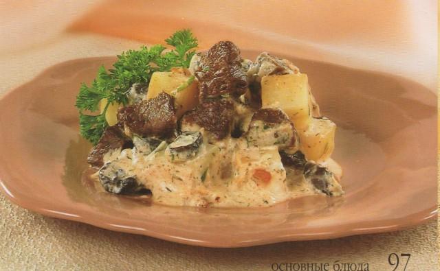 Мясо с грибами в горшочке
