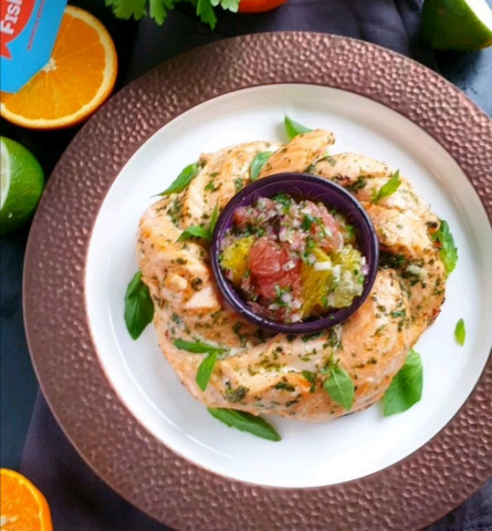 Запечённый цитрусовый лосось