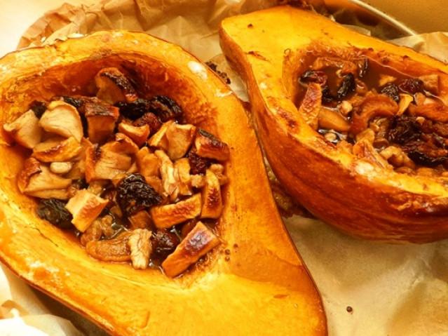 Тыква, запечённая с мёдом и орехами