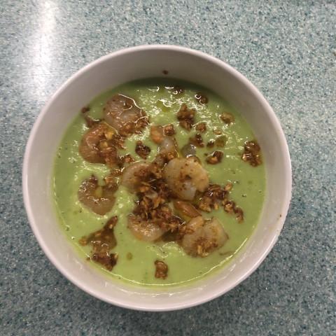 Суп с брокколи с креветкой