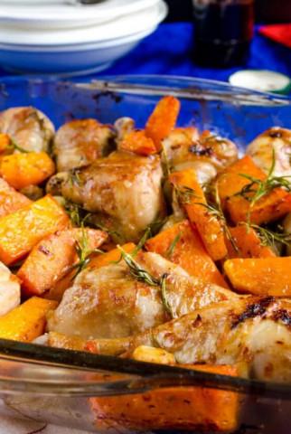 Курица с тыквой запеченная в духовке