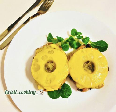 🍍Куриная грудка с грибами и ананасами под сыром 🧀