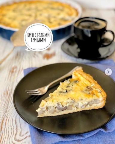 вкусный пирог - Киш Лорен с белыми грибами и голубым сыром