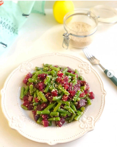 Салат из свеклы и стручковой фасоли🥗