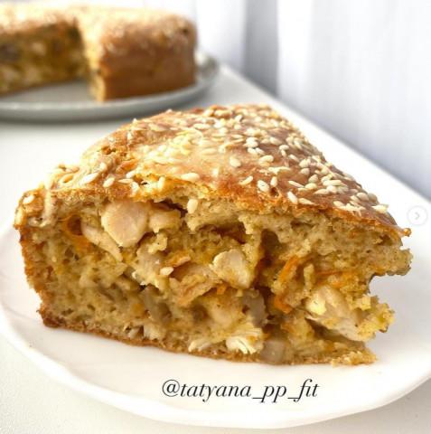Заливной пирог с курицей и грибами