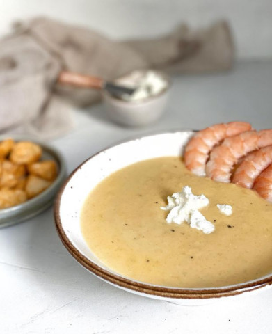 Кукурузный крем-суп с креветками 🌿