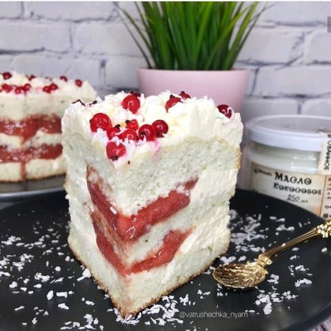 Малиново-сливочный торт