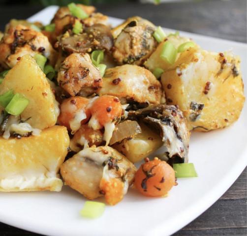 💞Запечённый картофель с курицей и сыром💞