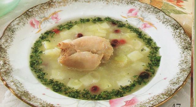 Суп с курицей и клюквой