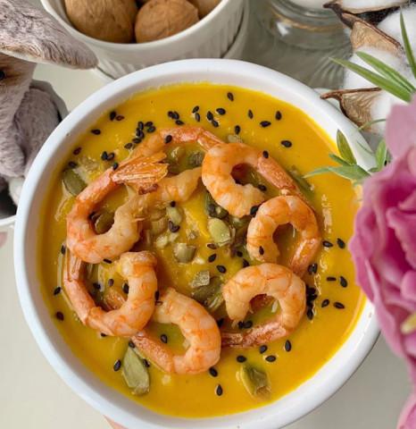 ПП-суп пюре из тыквы с креветками