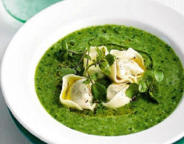Суп из зеленого горошка с тортеллони