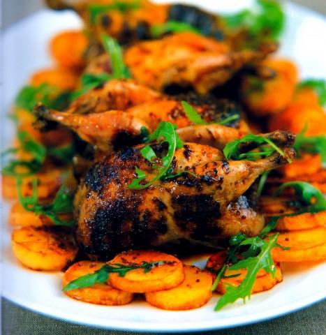 Перепелки poché-grillé c медово - горчичной заправкой