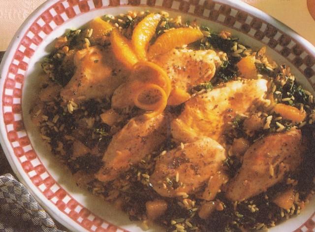 Курица с рисом и грецкими орехами