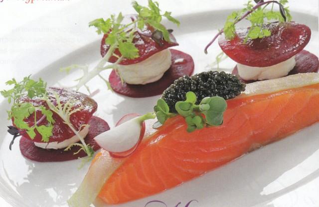 Копченый лосось с овощным равиоли