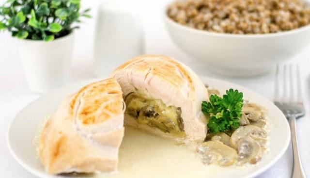 Куриная грудка с сыром и грибами на сковородке