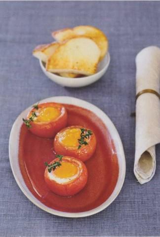 Запеченные в помидорах яйца