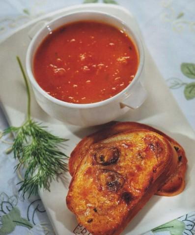 Тыквенный суп с помидорами
