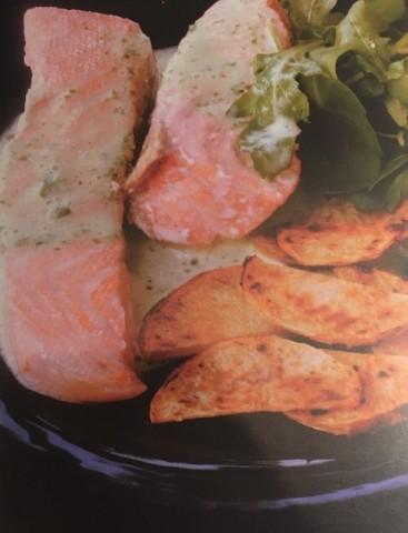 Лосось на пару с жареным картофелем