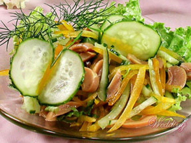 Салат из шампиньонов и свежих огурцов