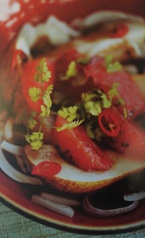 Салат из фенхеля с грейпфрутом и грушей