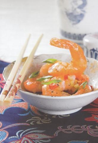 Креветки, жаренные с солью и перцем