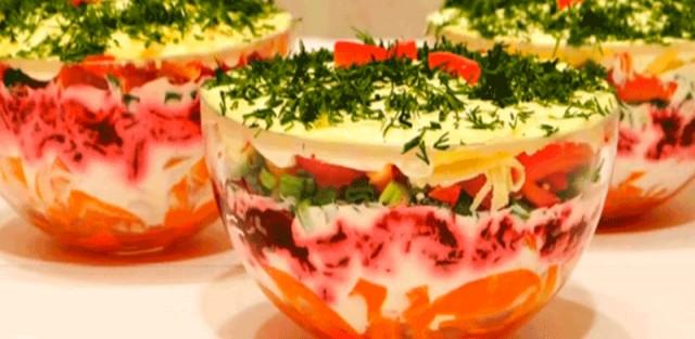 Салат слоеный с укропом
