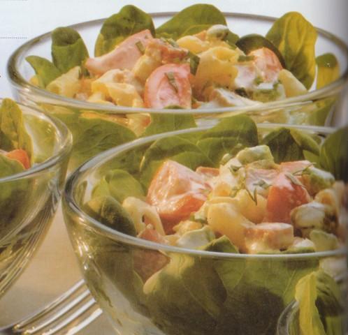 Салат из копченой ветчины с пенне