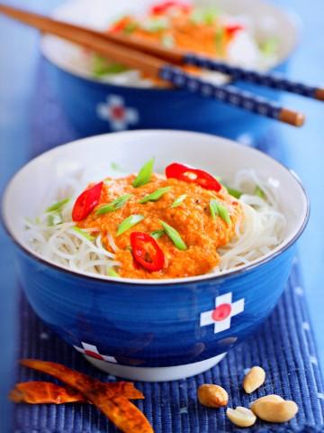 Сатэй би хун, рисовая лапша по-сингапурски