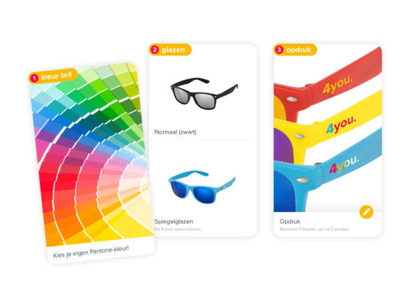 Kies je kleur bril, glazen en soort opdruk