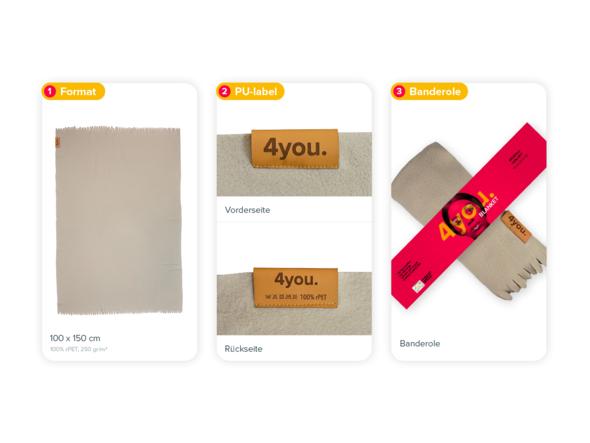 Größe, PU-Label und Banderole