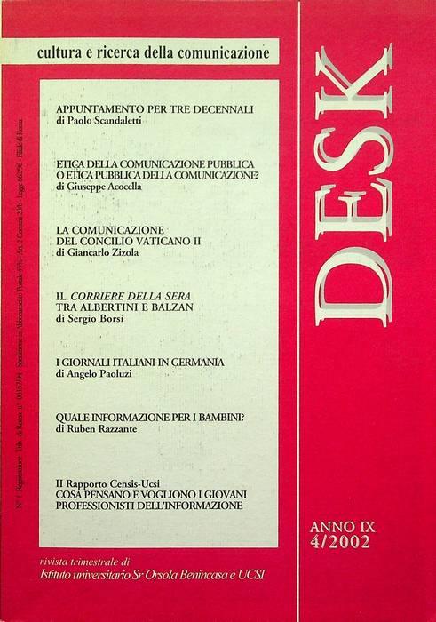 Desk: cultura e ricerca della comunicazione: A. IX - N. 4/2002.