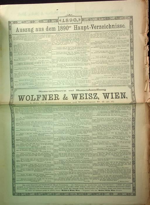 Samenculturen und Samenhandlung: Wolfner & Weisz, Wien: Auszug aus dem 1890er Haupt-Verzeichnisse.