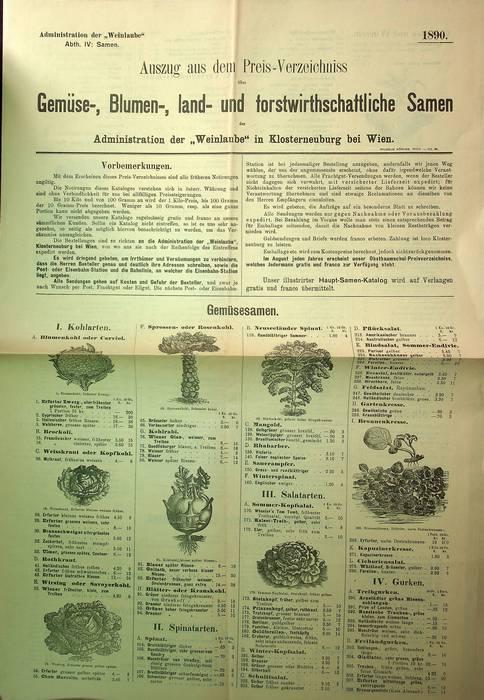 """Auszug aus dem Haupt-Preis-Verzeichniss Gemüse-, Blumen-, land- und forstwirtschaftliche Samen: Administration der """"Weinlaube"""" in Klosterneuburg bei Wien."""