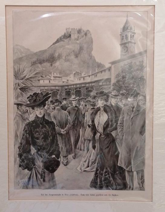 Auf der Kurpromenade in Arco (Südtirol). Nach dem Leben gezeichnet von St. Rejchan.
