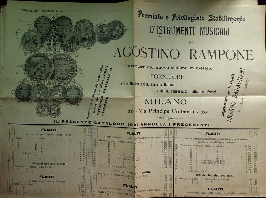 Premiato e privilegiato stabilimento d'istrumenti musicali di Agostino Rampone: Milano.