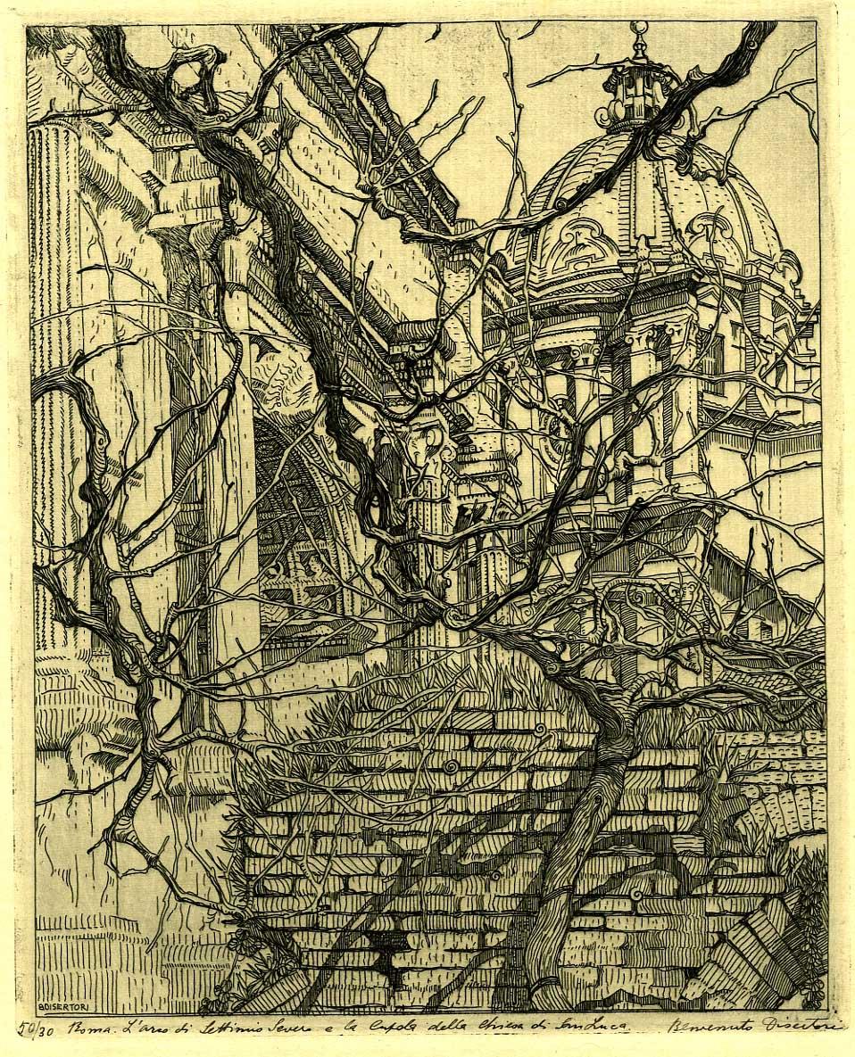 L'Arco di Settimio Severo e la cupola di S. Luca (c. 1917).