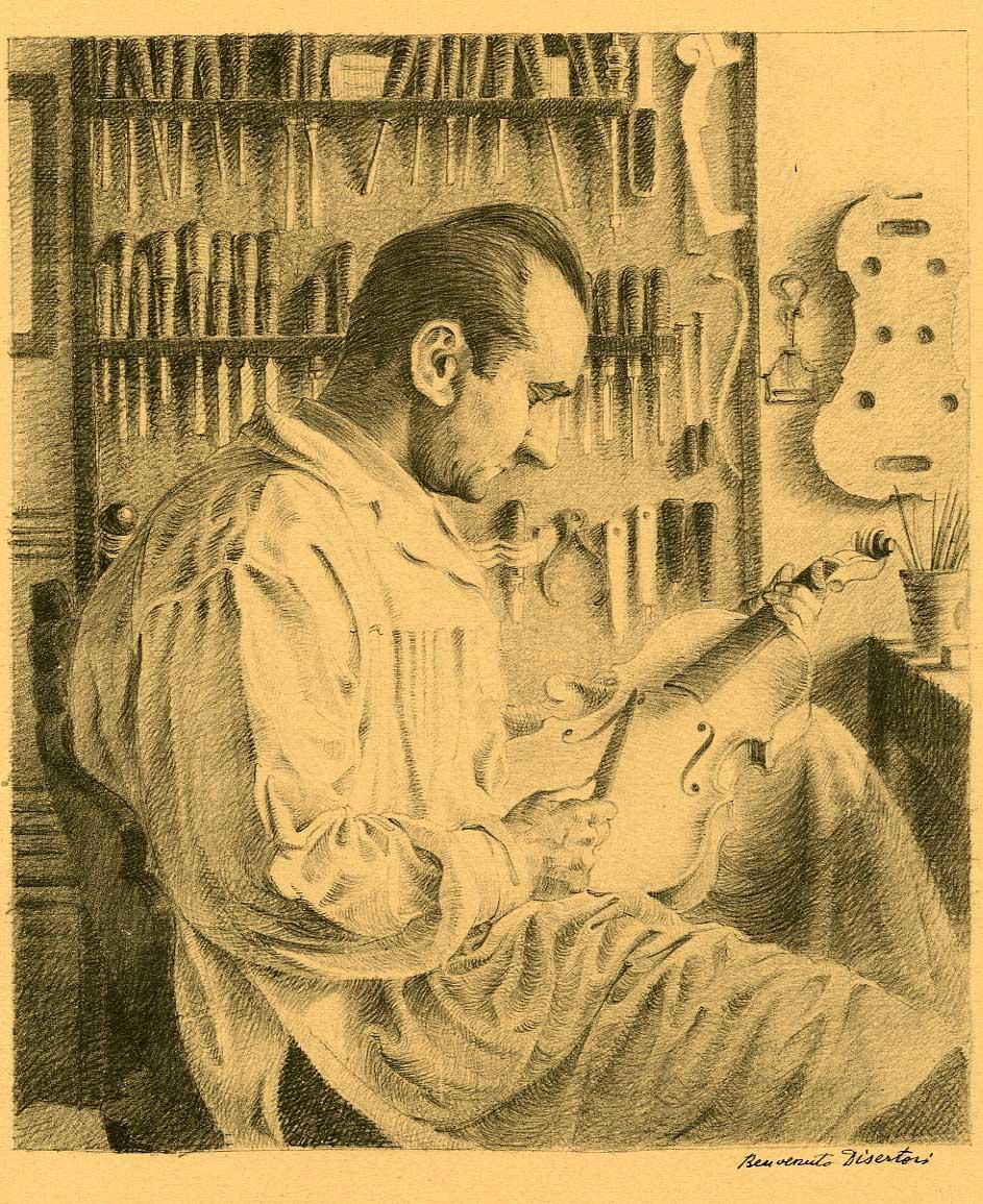 Il liutaio Giacomo Bisiach (c. 1934).