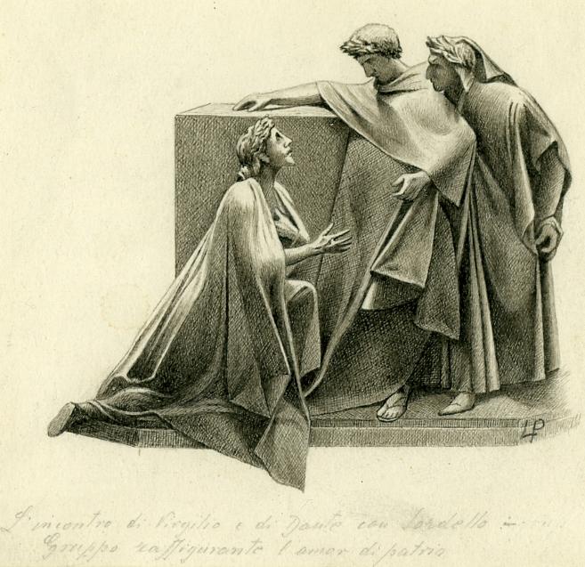 L'incontro di Virgilio e di Dante con Sordello. Gruppo raffigurante l'amor di patria.