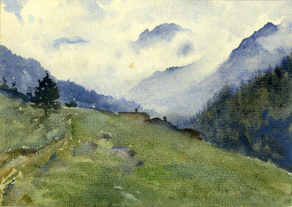 Paesaggio di montagna con baite.