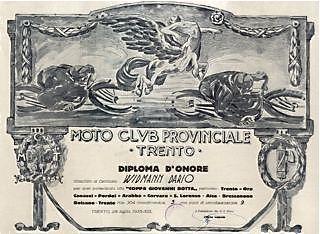 """Moto Club Provinciale Trento: diploma d'onore rilasciato al centauro Widmann Dario per aver partecipato alla """"Coppa Giovanni Botta""""."""