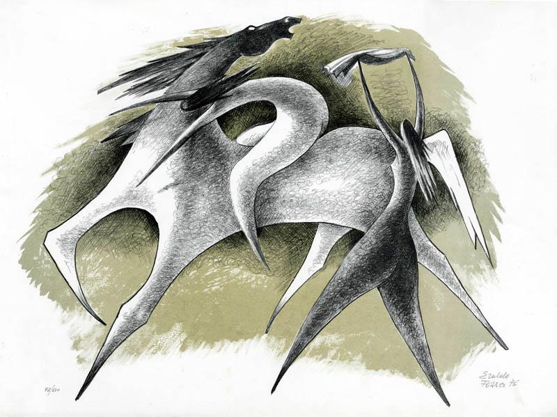 Cavallo con due figure femminili.