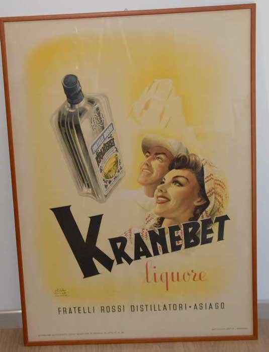 Kranebet liquore. Fratelli Rossi distillatori. Asiago.