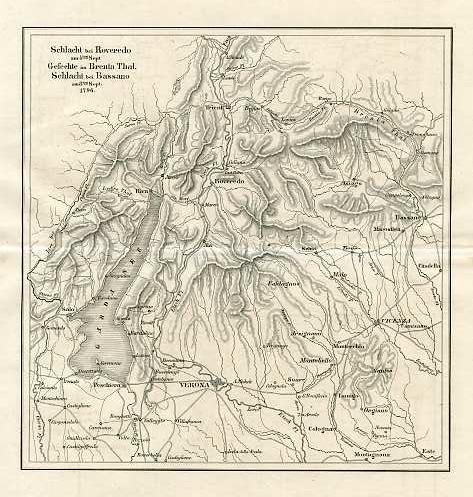 Schlacht bei Roveredo am 4ten Sept. Gesechte in Brenta thal. Schlacht bei Bassano am 8ten Sept. 1796