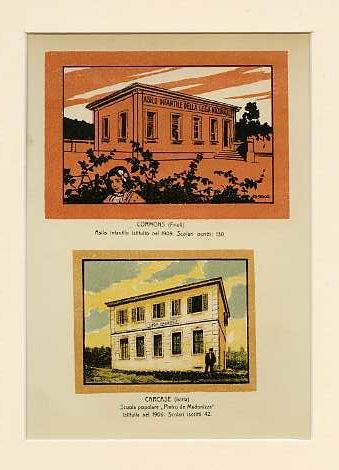 Cormons (Friuli) Asilo infantile istituito nel 1909. Scolari iscritti 130; Carcase (Istria) Scuola popolare Pietro de Madonizza istituita nel 1906. Scolari iscritti 42.