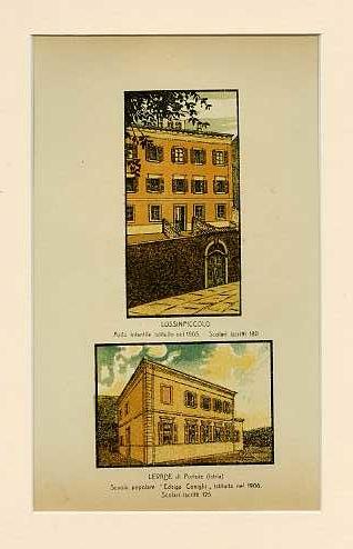 Lussinpiccolo. Asilo infantile istituito nel 1905. Scolari iscritti 180; Levade di Portoie (Istria) Scuola popolare Edvige Conighi istituita nel 1906. Scolari iscritti 125.