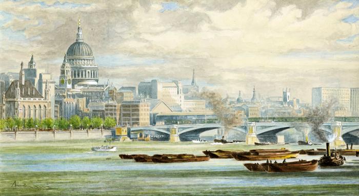 Cupola di st. Paul con il Tamigi a Londra.
