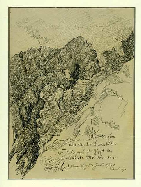 ... ab maler der Linderhütte in Hintergrund der Gipfel des Spitzkofels.