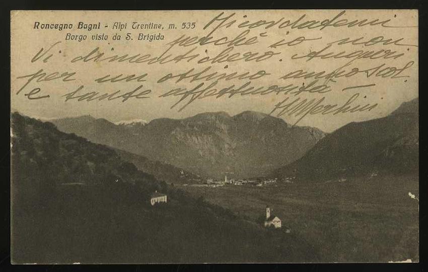 Roncegno Bagni. Alpi Trentine m. 535. Borgo visto da S.Brigida.