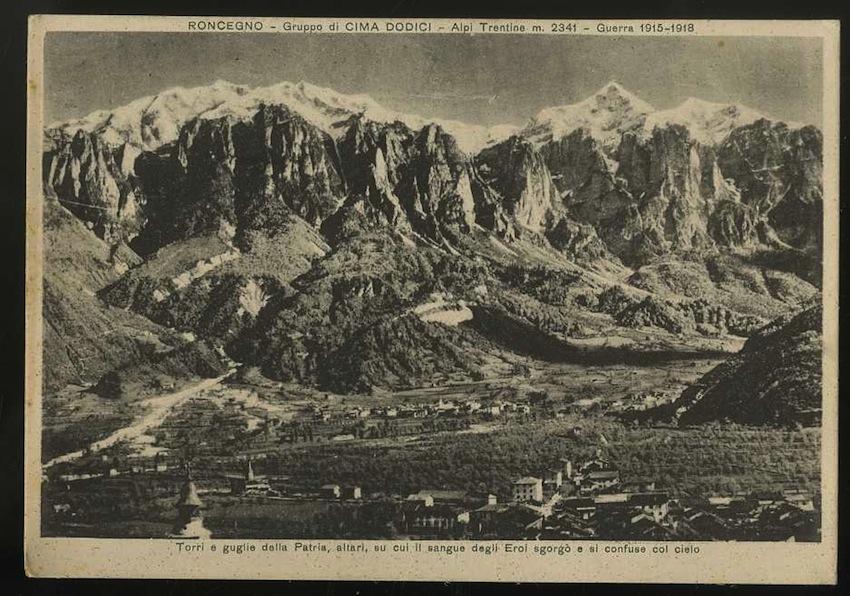 Roncegno. Gruppo di Cima Dodici. Alpi Trentine m. 2341. Guerra 1915 -1918.